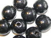Wooden bead, round, 18x16mm, black, 10 pcs