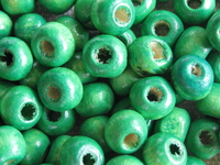 Wooden bead, round, 6x5mm, green, 70 pcs