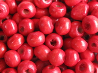 Wooden bead, round, 5,5x4mm, red, 70 pcs