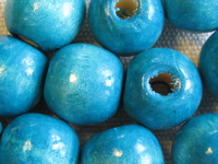 Wooden bead, round, 14x13mm, pale blue, 10 pcs