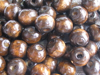 Wooden bead, round, 8x6,5, brown, 50 pcs