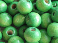 Wooden bead, round, 8mm, green, 50 pcs