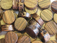 Patikan, wooden bead, flat round, 10x4mm, 10pcs