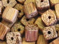 Palmwood, wood bead, dice, 6x6mm, 20 kpl