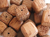 Palmwood, wooden bead, dice, 15x15mm, 10 pcs