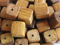 Robles, wooden bead, dice, 12x12mm, 10 pcs