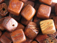 Bayong, wooden bead, cube, 6x6mm, 18 pcs
