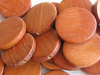 Bayong, wooden bead, flat round, 20x4mm, 5 pcs