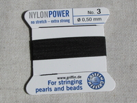 Power Nylon, No3, musta, 2m lanka neulalla