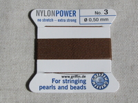 Power Nylon, No3, ruskea, 2m lanka neulalla