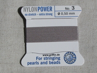 Power Nylon, No3, harmaa, 2m lanka neulalla