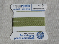 Power Nylon, No3, vaaleanvihreä, 2m lanka neulalla