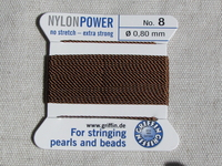 Power Nylon, No8, ruskea, 2m lanka neulalla