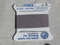 Power Nylon, No8, harmaa, 2m lanka neulalla