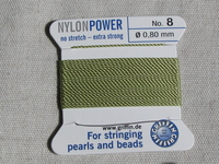 Power Nylon, No8, vaaleanvihreä, 2m lanka neulalla