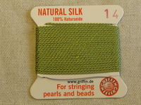 Jewellery Silk, No14, jade green, 2m thread with needle
