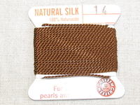 Jewellery Silk, No14, brown, 2m thread with needle
