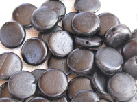 Coco, wooden bead, flat round, 10mm, black, 20 pcs