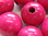 Wooden bead, round, 25mm, fuchsia, 6 pcs