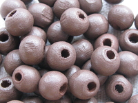 Wooden bead, round, 8x7mm, brown, 50 pcs