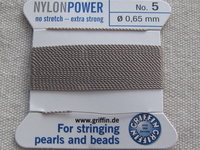 Power Nylon, No 5, harmaa 2m lanka neulalla