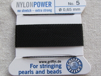 Power Nylon, No 5, musta, 2m lanka neulalla