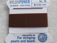 Power Nylon, No 5, ruskea, 2m lanka neulalla