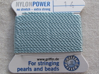 Power Nylon, No 14, turkoosi, lanka neulalla