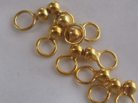 Silver, bell cap, 3mm, gold plated, closed eye, 10 pcs