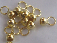 Silver, bell cap, 4mm, gold plated, closed eye, 10 pcs