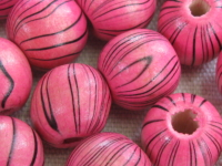 Wooden bead, round, 14x13mm, striped, pink, 15 pcs