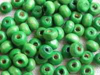 Wooden bead, round, 5,5x4mm, green, 70 pcs