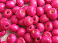 Wooden bead, round, 6x5mm, fuchsia, 70 pcs