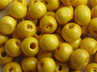 Wooden bead, round, 8mm, yellow, 50 pcs