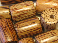 Palmwood, wooden bead, tube, 20x15mm, 6 pcs