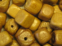Nangka, wooden bead, dice, 6x6mm, 20 pcs