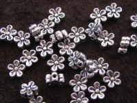 Metal bead, 7x3,5mm, flower, 17pcs