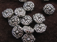 Metal bead, 11x10x6mm, coin, 4 pcs