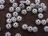 Metal bead, 6x3mm, flower, 25 pcs