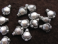 Metal bead, 11x9x5, pam leaf, 8 pcs