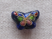 Cloisonne, butterfly, blue, 15x11mm, 1 pcs