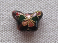 Cloisonne, butterfly, brown, 15x11mm, 1 pcs
