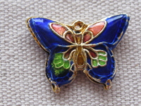 Cloisonne, butterfly, blue, 15x19x2,5mm, 1 pcs