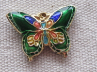 Cloisonne, butterfly, green, 15x19x2,5mm, 1 pcs