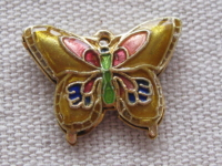Cloisonne, butterfly, yellow, 15x19x2,5mm, 1 pcs