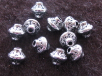 Metal bead, 7x6,5mm, bicone, 10 pcs
