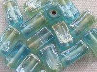 Rectangle, 13x6mm, lyster, turquoise, 15 pcs
