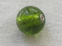 Round 14mm green clear glass bead, 1 pcs