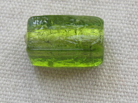 Rectangle, 17x8mm, green, silver foil inside, 1 pcs