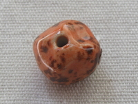 Ceramic bead, round, 13x15mm, orange, 1 pcs
